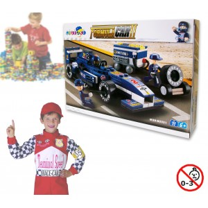 Playset costruzioni Formula 1 +195 pezzi da assemblare 3 personaggi con stazione pit stop M38-B0351