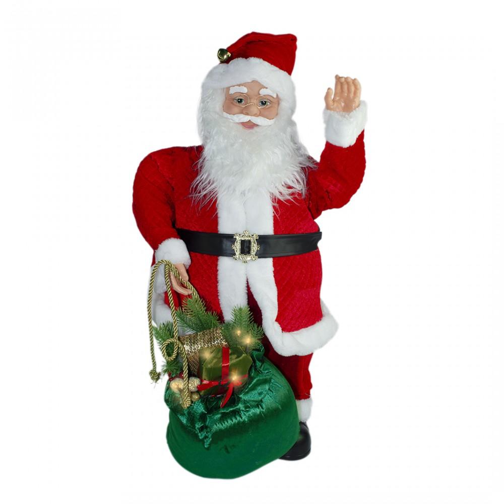 Babbo Natale 80 Cm 144184 Addobbo con sacco natalizio musica luce e movimento