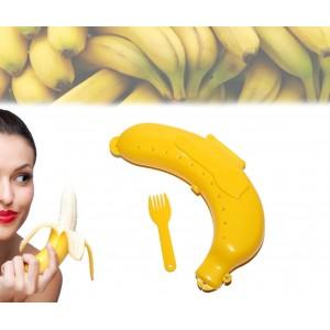 Image of Contenitore astuccio porta banana da asporto box safe e forchettina 8028327275217