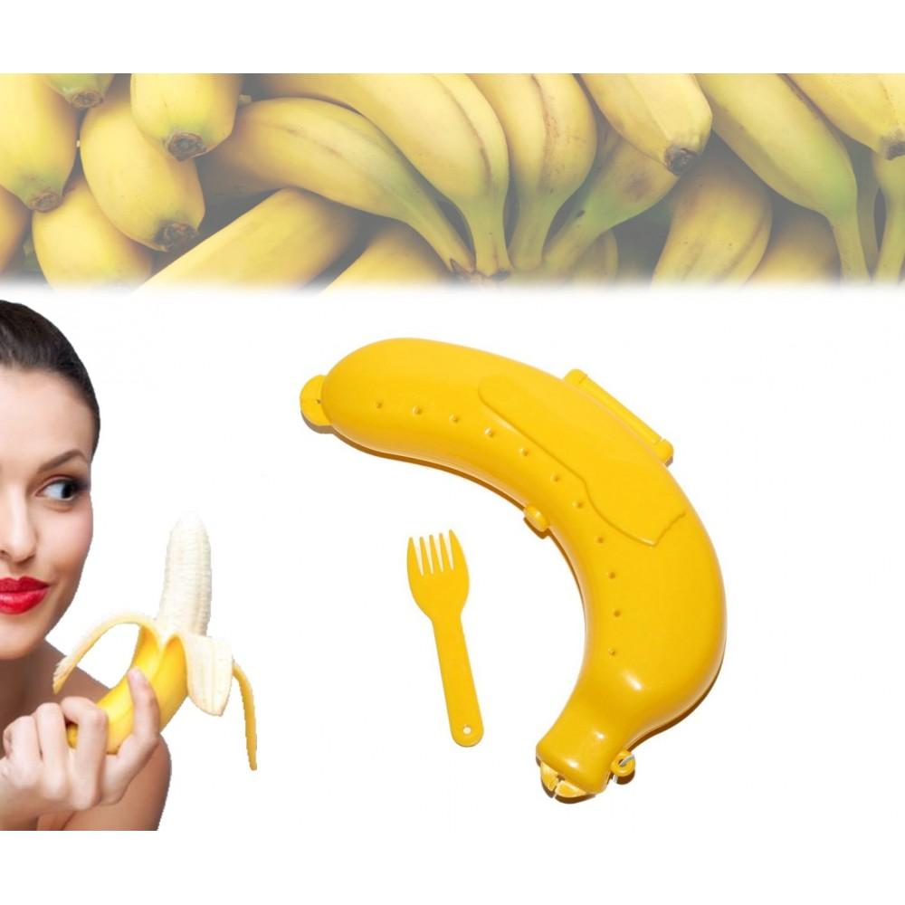 Contenitore astuccio porta banana da asporto box safe e forchettina