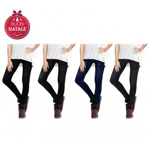 Pack di 4 leggings fantasia nordica testurizzata tono su tono con interno felpato in taglia unica in vari colori