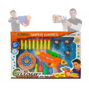 Image of Pistola con mirino spara freccette 8 dardi soft a ventosa e vari bersagli 2913 8017130713719