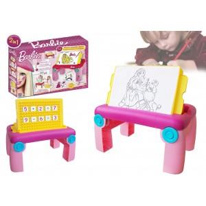 Tavolino multifunzione colora e impara la matematica con Barbie con gambe pieghevoli e doppio piano regolabile