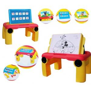 Tavolino multifunzione colora e impara la matematica con Mickey Mouse gambe pieghevoli e doppio piano regolabile