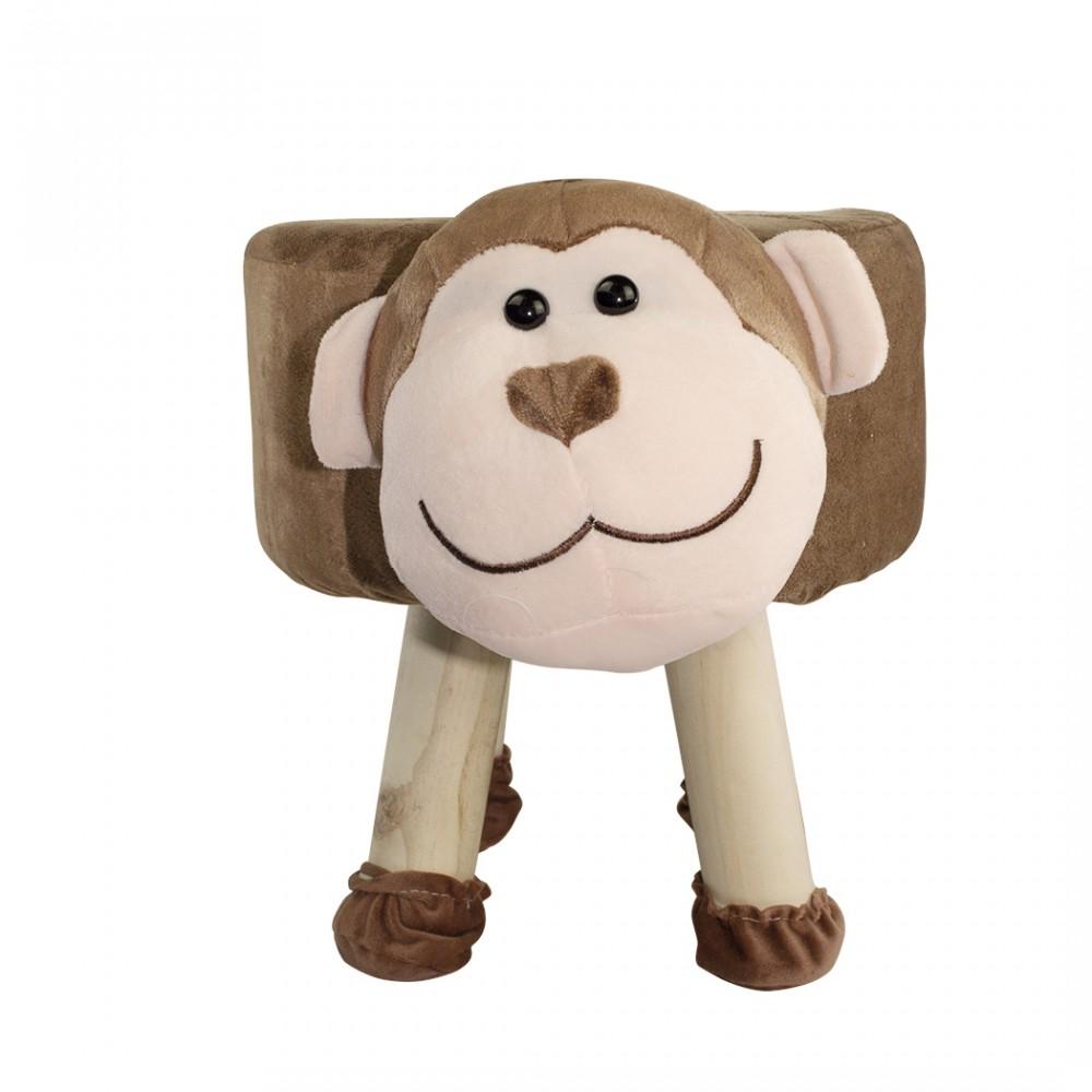 Pouf in morbido tessuto 372025 forma di Scimmietta legno e stoffa 40x27xH30 cm