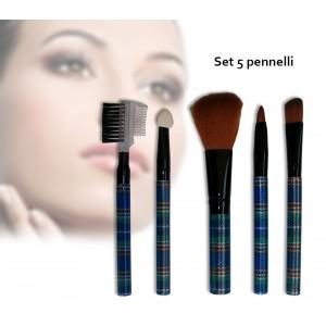 Set 5 pennelli Make-Up in stile scozzese con pratico astuccio portatile da borsa per un trucco sempre perfetto