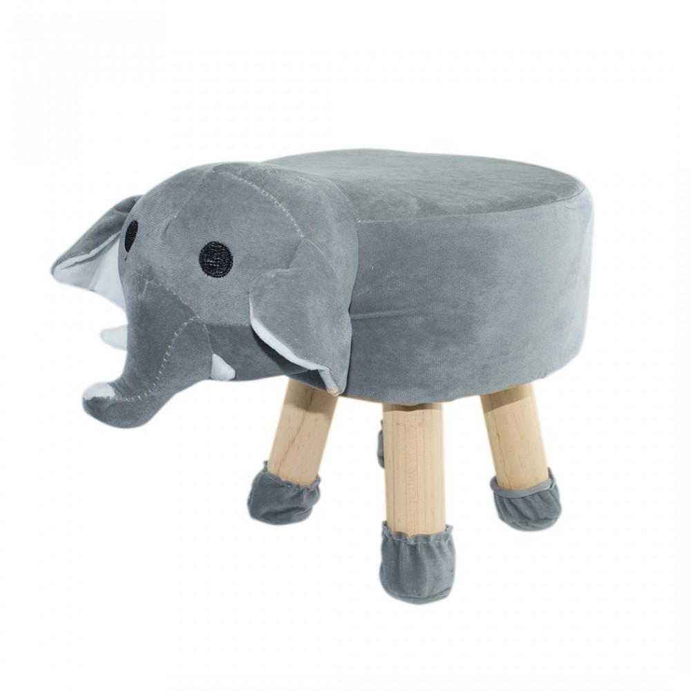 Pouf in morbido tessuto 372025 forma di Elefante in legno e stoffa 40x27xH30 cm