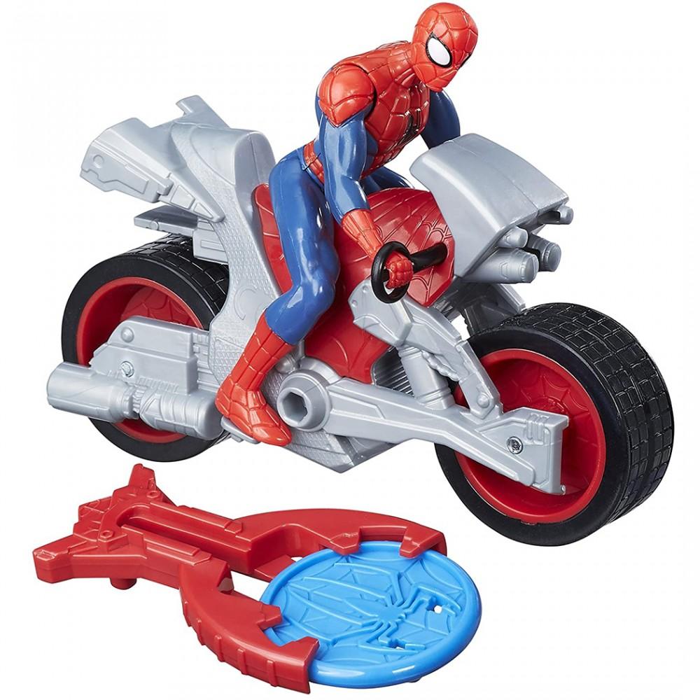 Marvel Spiderman Blast'n Go 458462 moto e proiettile da sparare con lanciatore