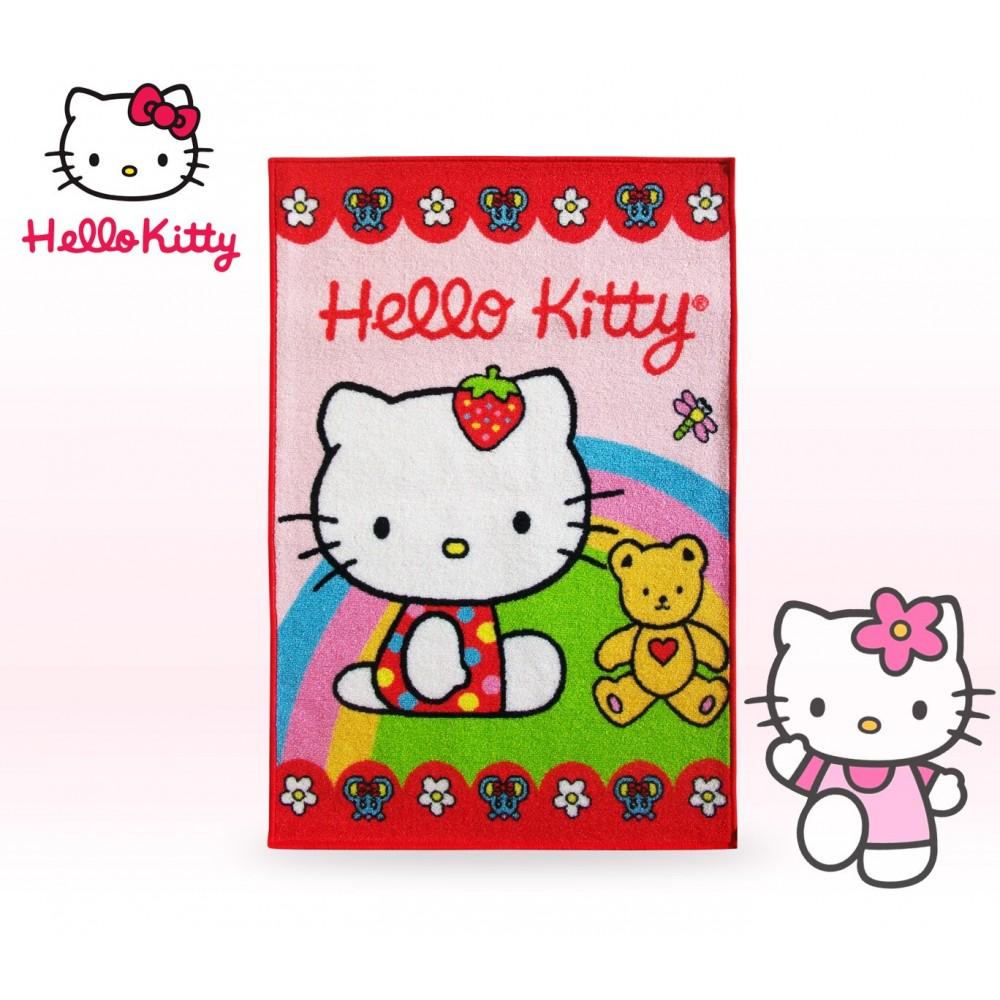 Tappeto per camerette bambini Hello Kitty varie fantasie 67 x 100 con fondo in lattice antiscivolo