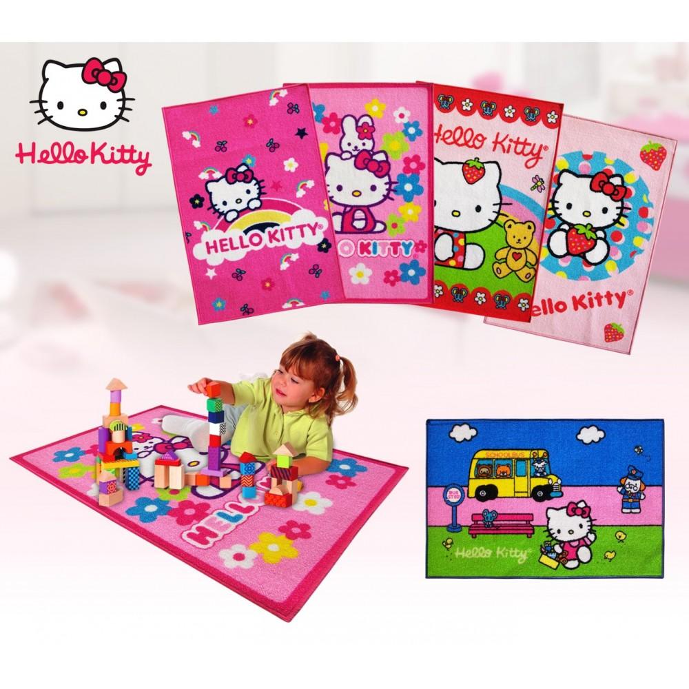 Tappeto per camerette bambini Hello Kitty varie fantasie 67 x 100 cm con fondo in lattice antiscivolo