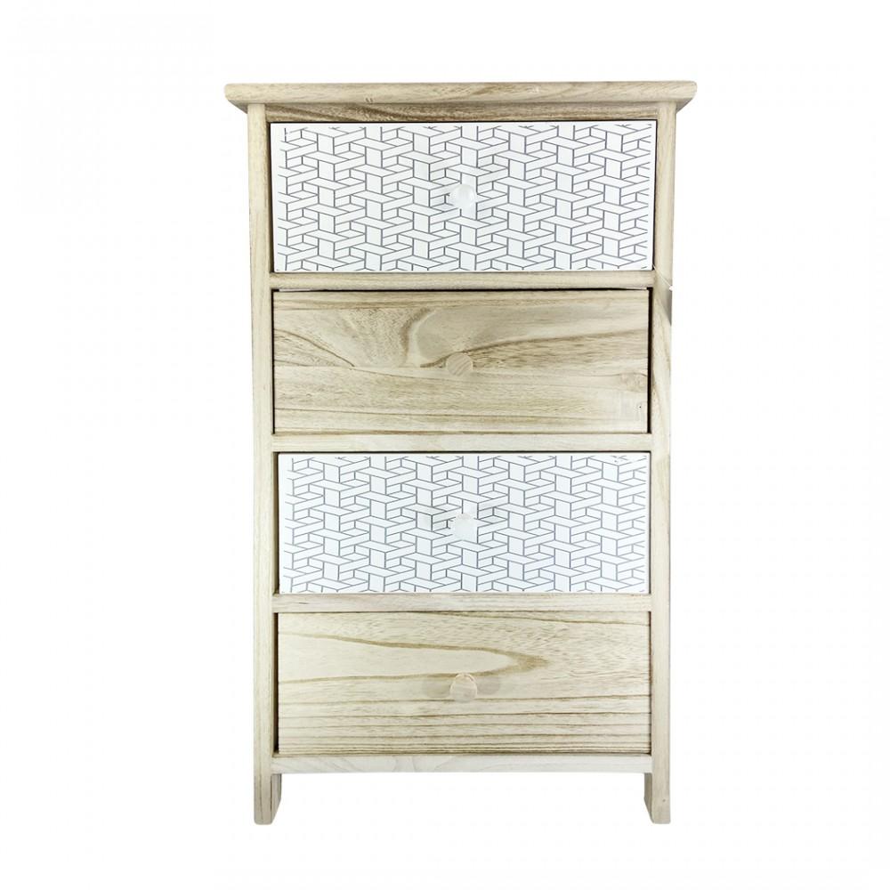 Mobiletto in legno con fantastia geometrica 398002 con 4 cassetti 40x29xH73 cm