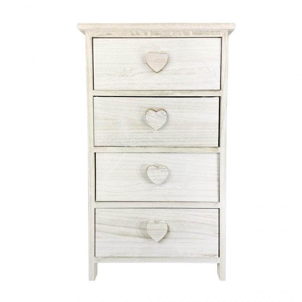 Mobiletto legno con pomello a forma di cuore 4 cassetti 40x29xH73 cm art. 398009