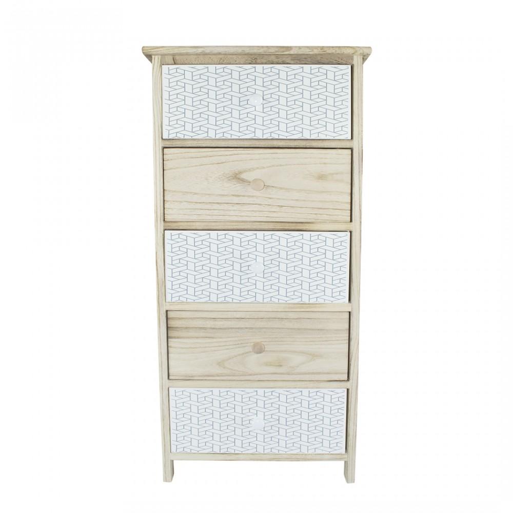 Mobiletto in legno con fantasia geometrica 5 cassetti 40x29xH90cm art. 398003