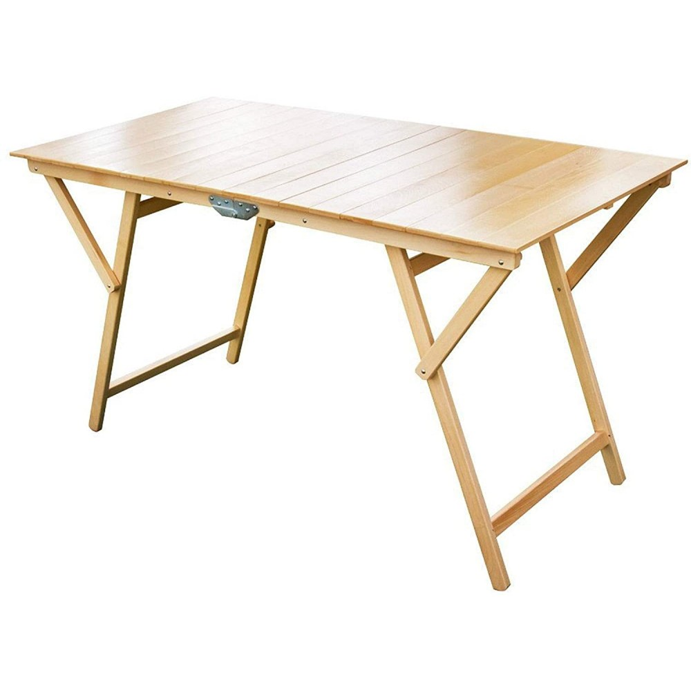Tavolo pieghevole 140 x 70 cm in legno naturale richiudibile tavolo da giardino