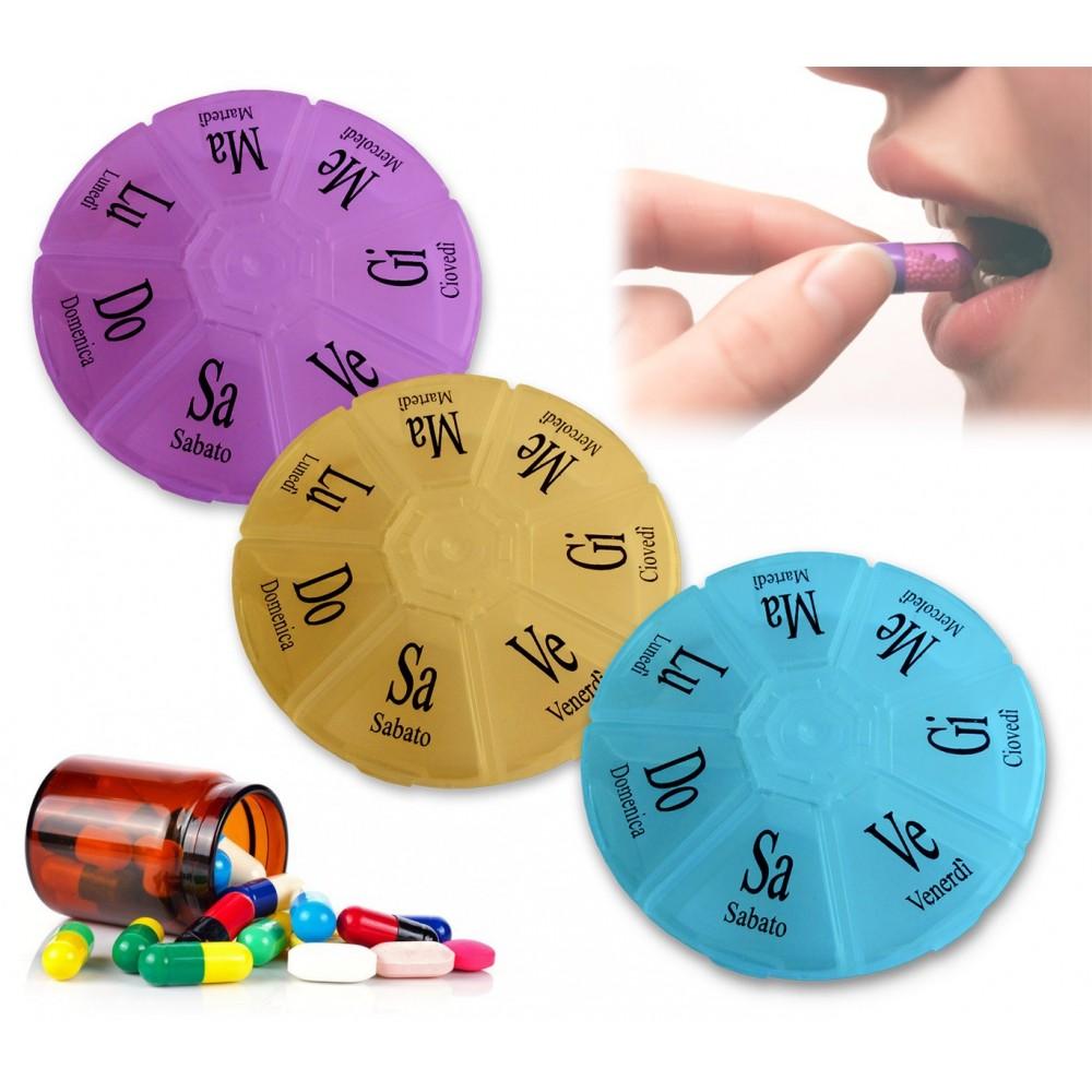 Portacompresse settimanale tascabile con coperchio organizer farmaci integratori