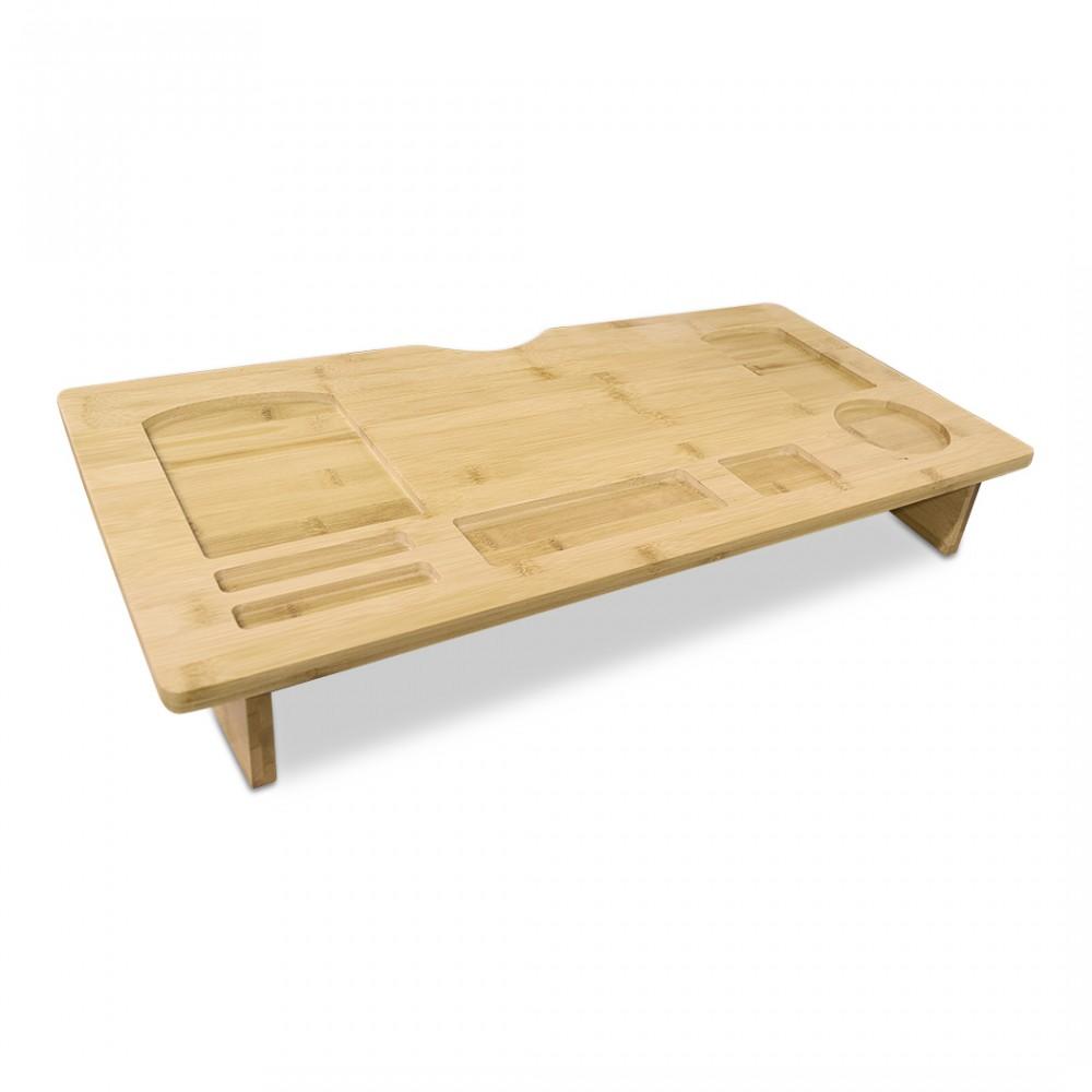 Organizzatore tavolo supporto computer multifunzione in legno bambù 60x30xH8 cm