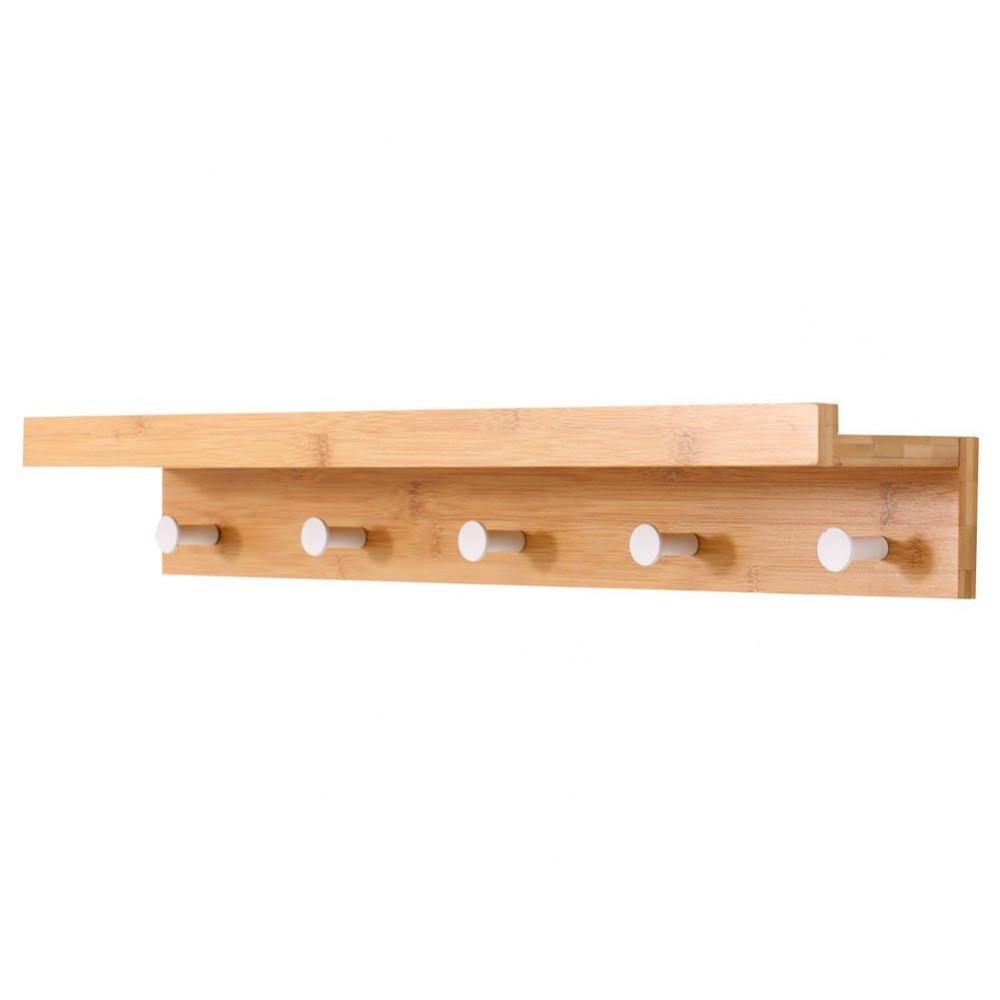 Mensola 5 ganci appendiabiti asciugamani in legno di bambù da parete 61x12xH10cm