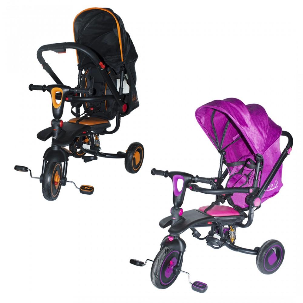 Triciclo modulare Reversibile BabyGo con sedile in pelle luci suoni fronte mamma