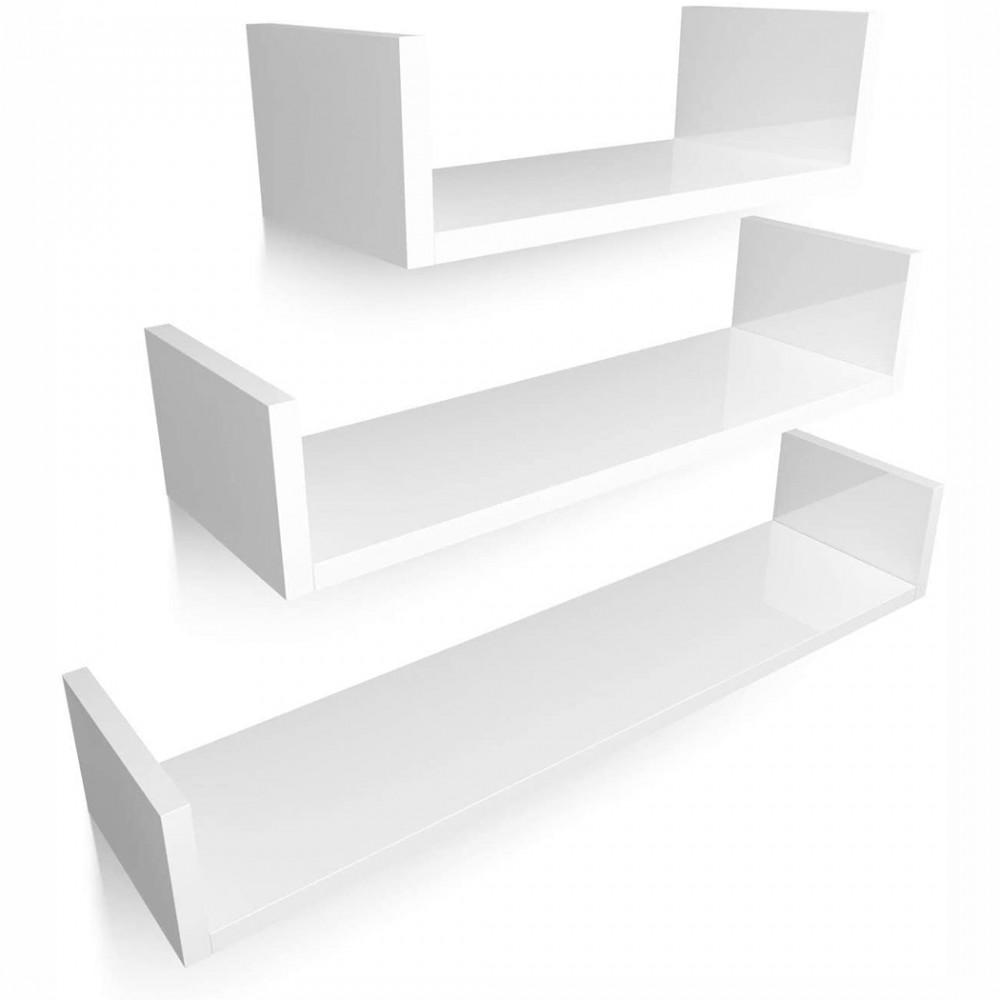 Set 3 mensole decorative a forma di U portaoggetti da parete 30-40-50 cm Bianco