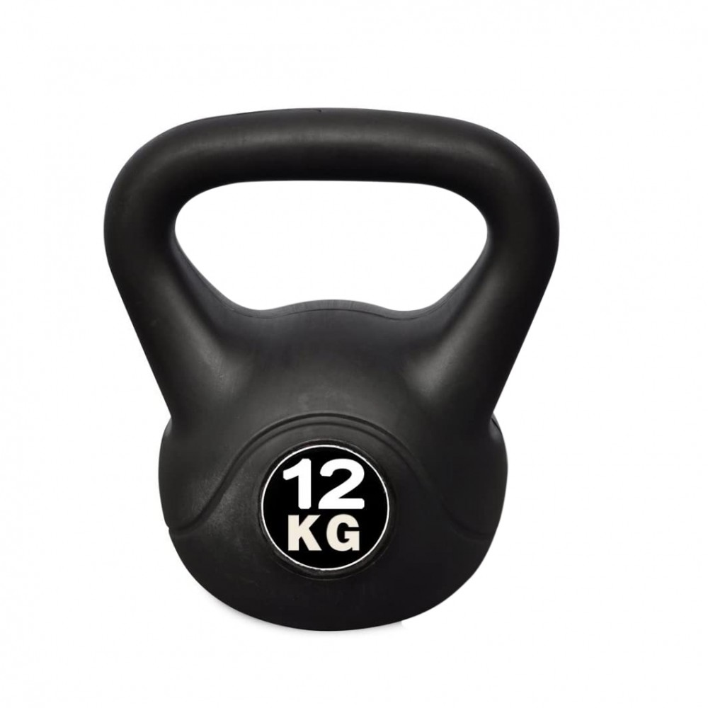 Kettlebell Fitness Da 12kg In Pvc Con Sabbia E Maniglia Anti Sfregamento