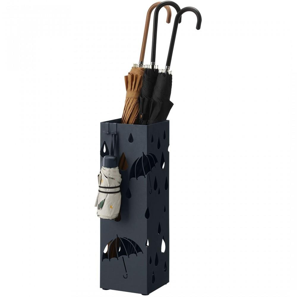 Porta ombrelli in metallo con vaschetta scolapioggia e 4 ganci 15,5x15,5xH49 cm