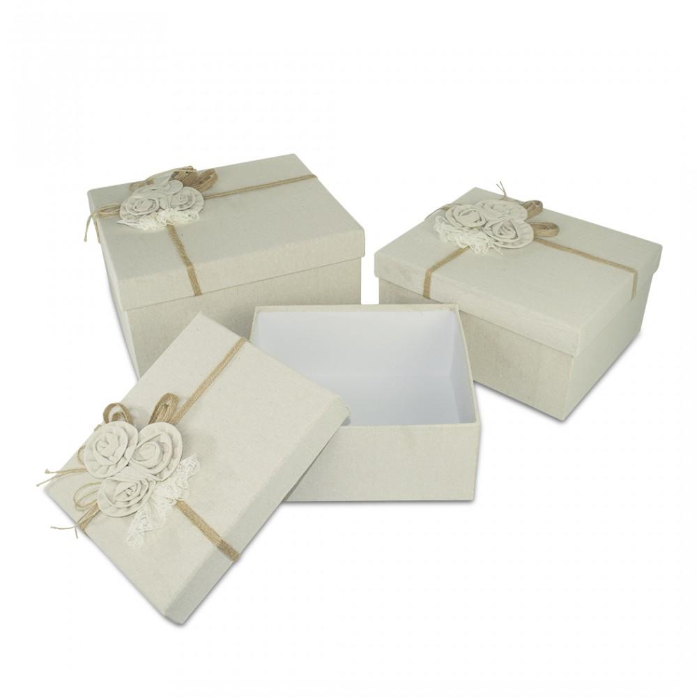 Set da 3 scatole regalo rettangolari in juta art. 191006 decorazione fiori