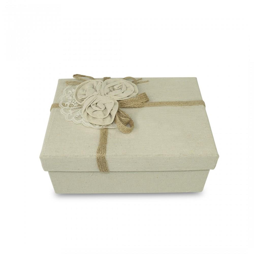 Scatolo regalo rettangolare in juta Beige art. 191005 con decorazione fiori