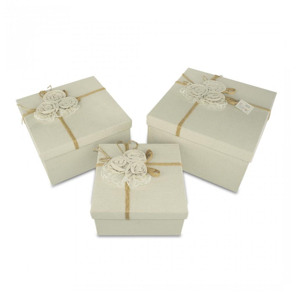 Set da 3 scatole regalo quadrate in juta art. 191008 con decorazione fiori