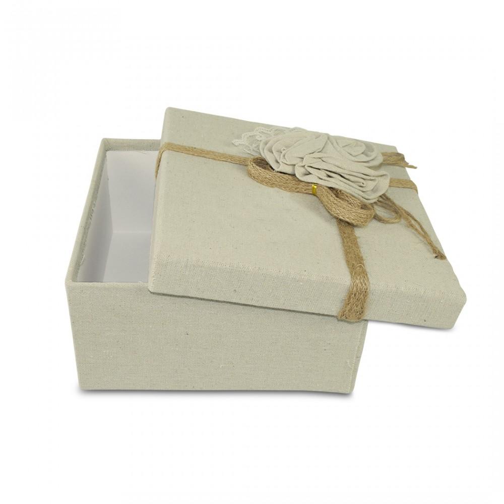 Scatolo regalo quadrato in juta Beige art. 191001 con decorazione fiori