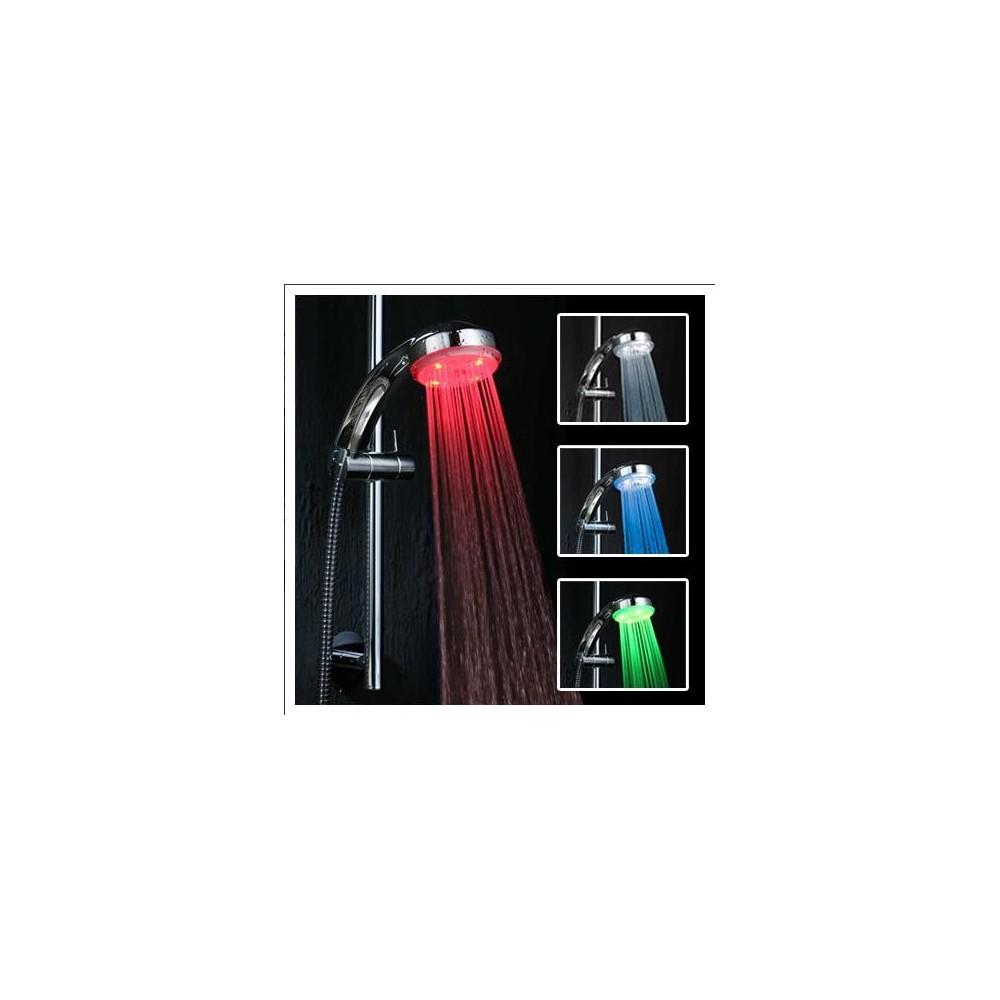 Miscelatore soffione doccia led cromoterapia tre colori bagno multicolore