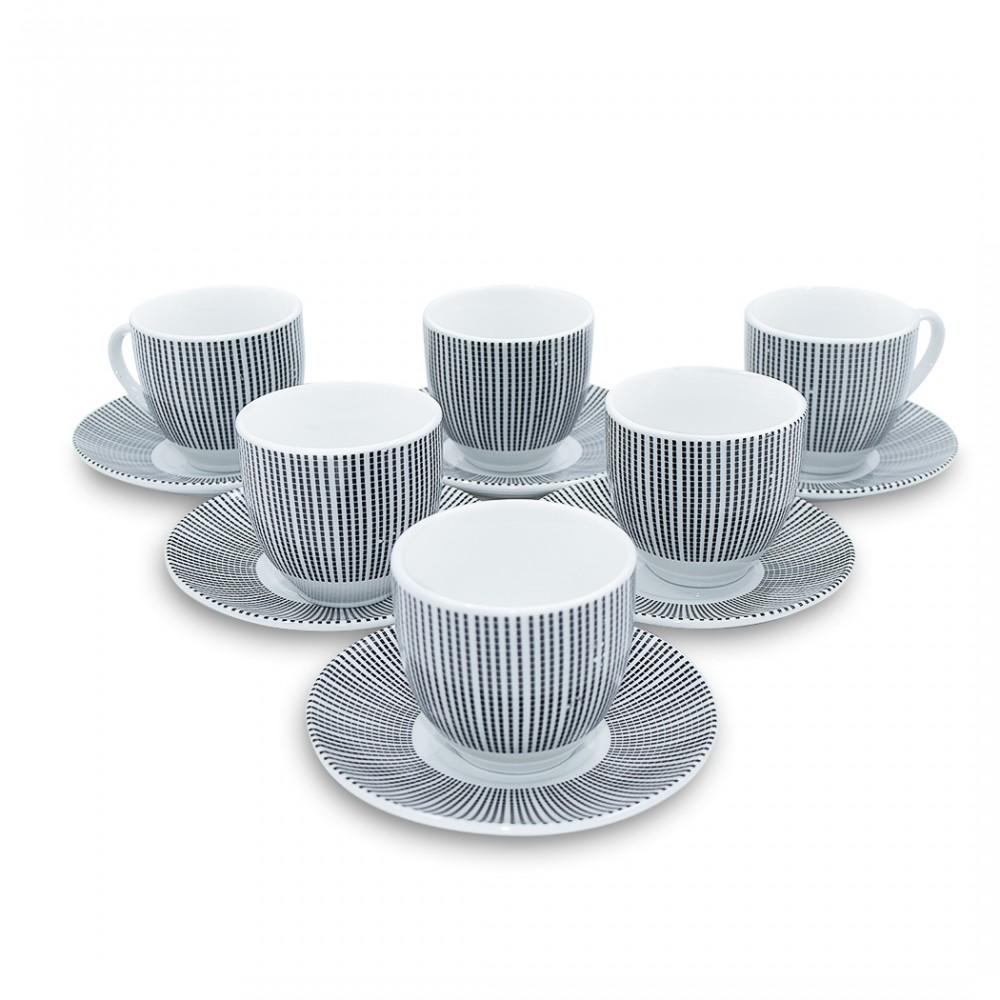 Set 6 tazzine da caffe' con piattino con decorazione righe 270046 di porcellana