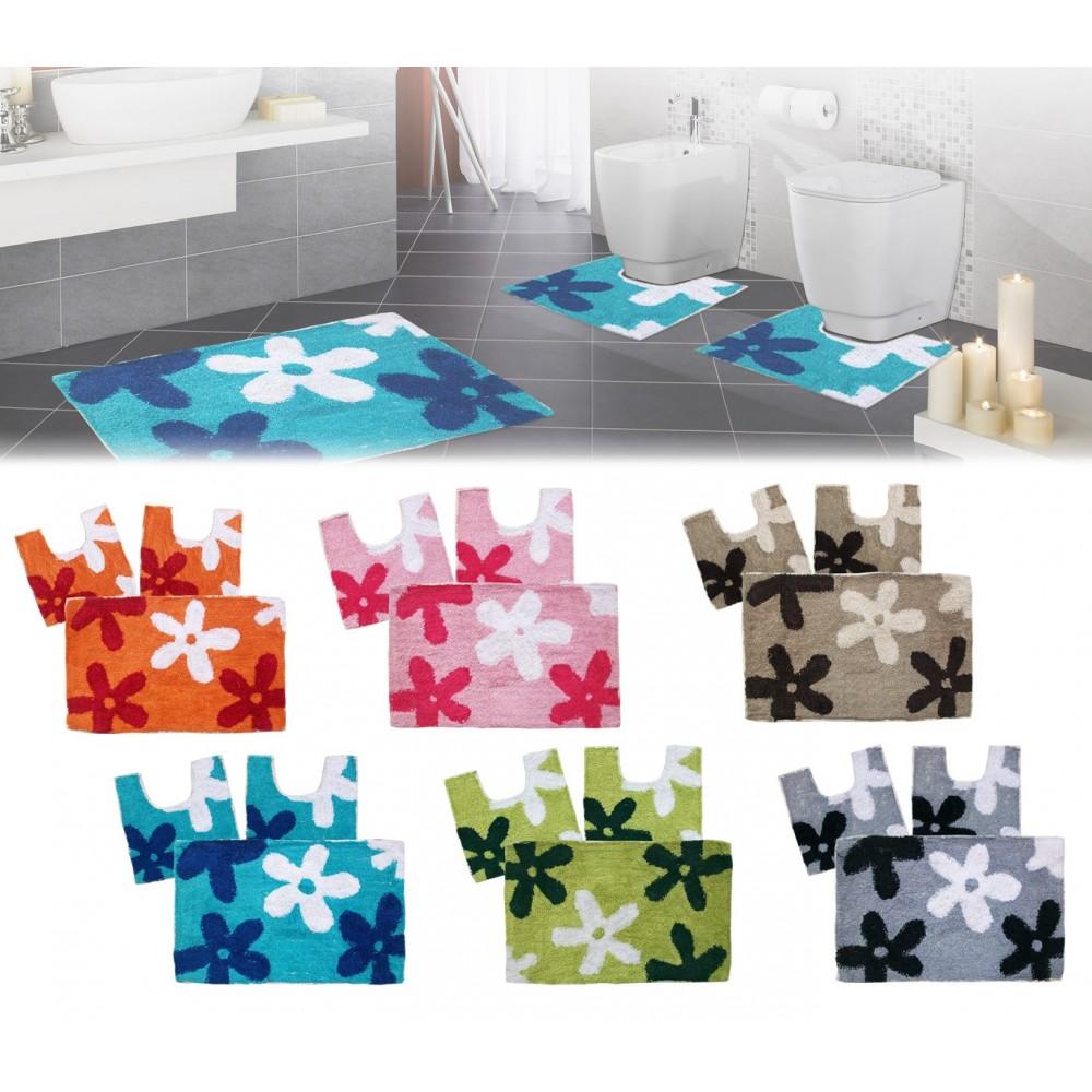 Set in coordinato di 3 pz tappetini per il bagno con motivi floreali