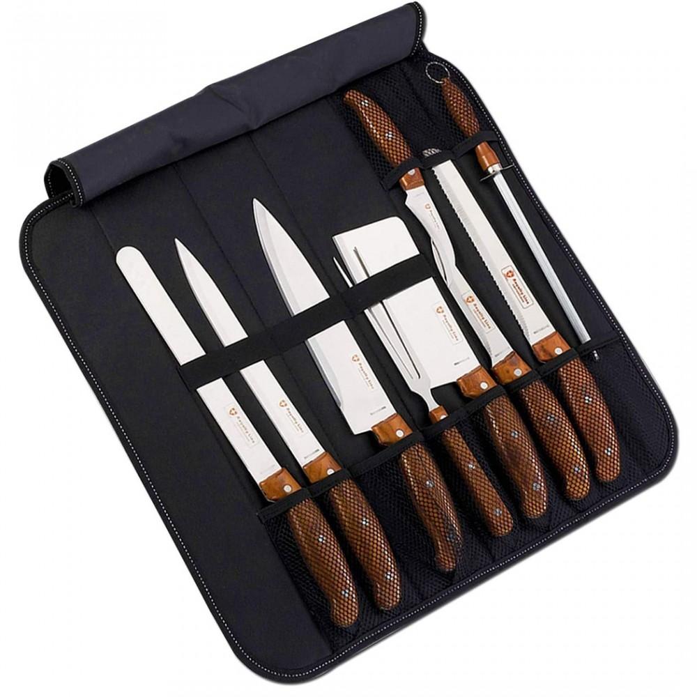 Set da taglio con 9 coltelli e attrezzi RLK9C in acciaio SWISS LINE con custodia