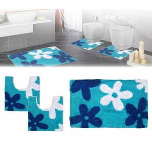 Set in coordinato di 3 pz tappetini per il bagno con motivi floreali in vari colori arredamento da bagno e comfort Rilux