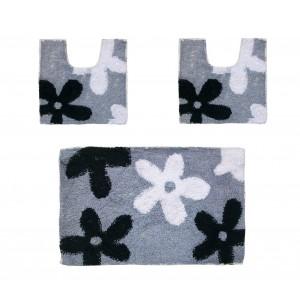 Image of Set in coordinato di 3 pz tappetini per il bagno con motivi floreali 8009297134780