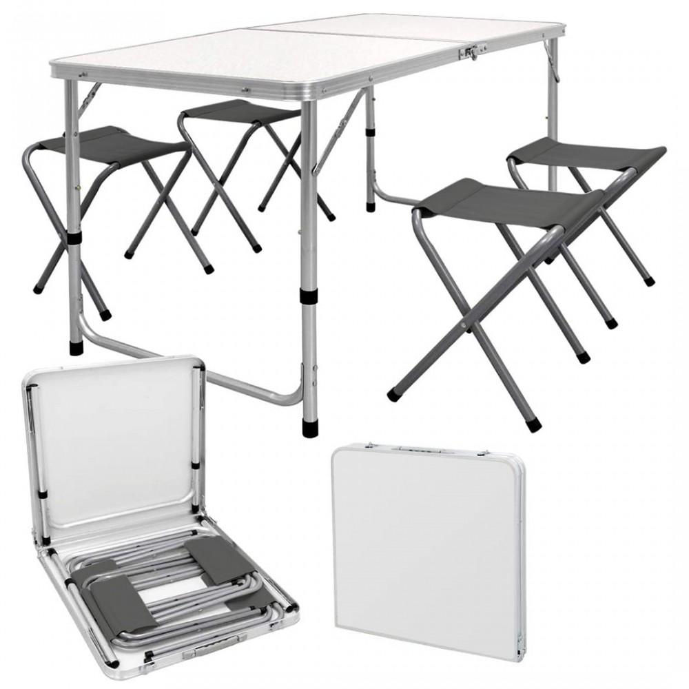 Set tavolo e 4 sgabelli pieghevoli pic nic AURORA richiudibile in valigetta