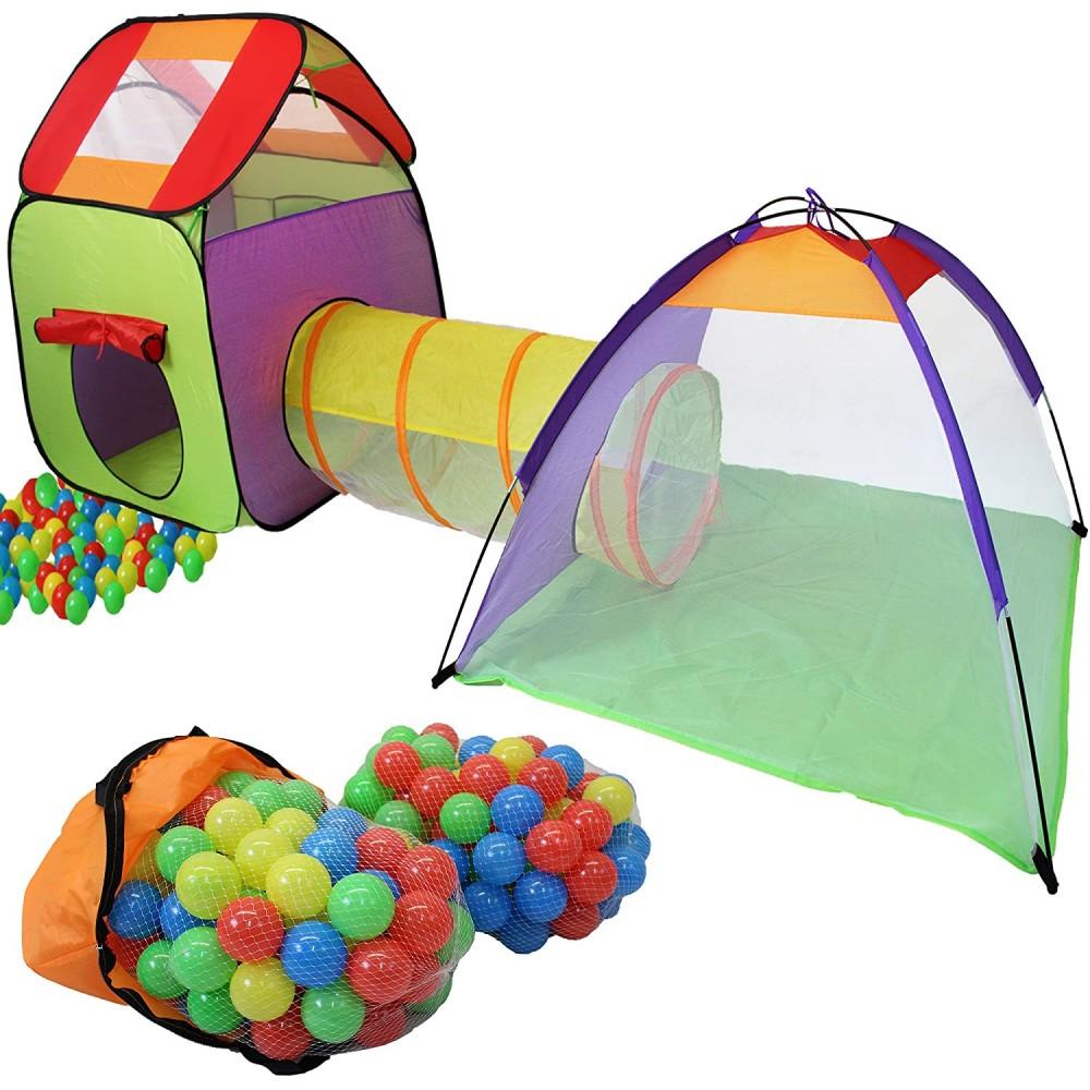 Tenda Igloo per Bambini con Tunnel e 200 Palline montaggio pop up playground