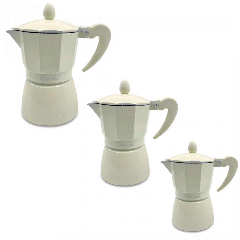 Set 3 caffettiere BEIGE in alluminio art. 333025 manico soft touch 1-3-6 tazze