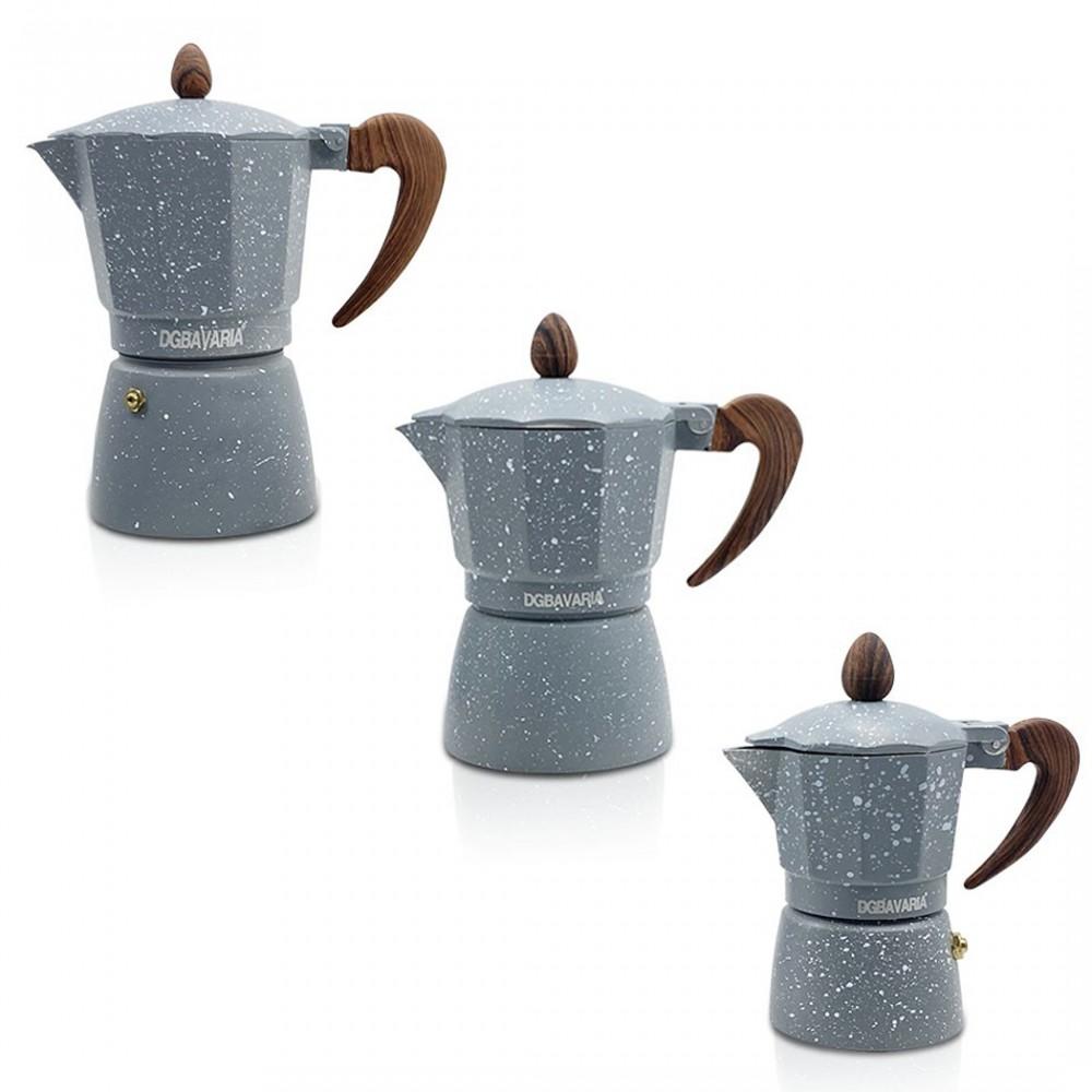 Set 3 caffettiere GRIGIO in alluminio art. 333024 manico soft touch 1-3-6 tazze