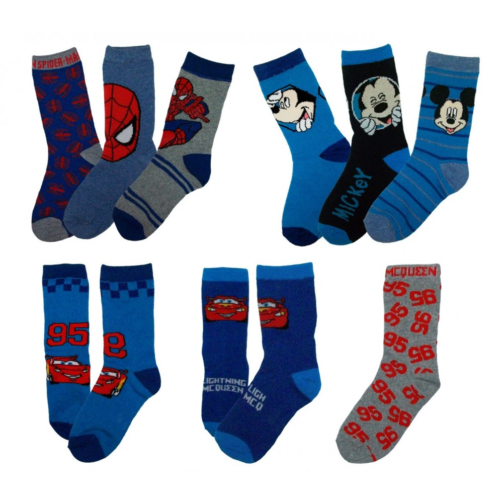 Pack di 3 paia di calzini DISNEY con stampa Spiderman Mickey Mouse e Cars