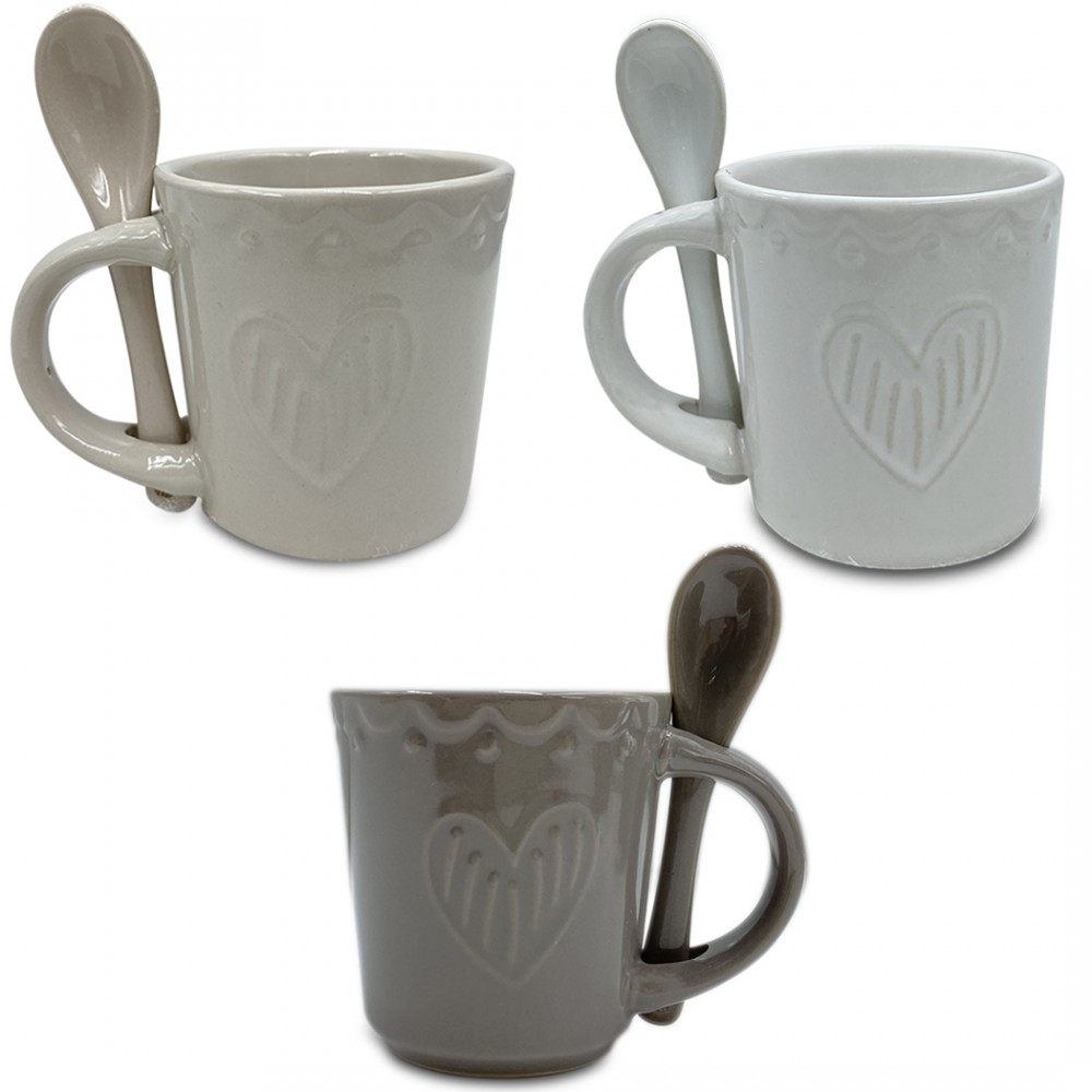 Servizio di Caffè Linea Felicia 100044 CUORE Ceramica 6 Tazzine e 6 Cucchiaini