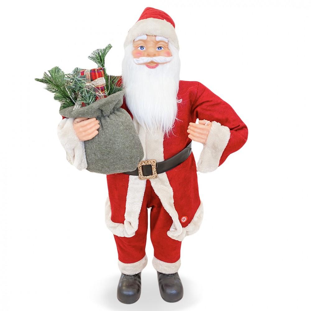 Babbo Natale Rosso e Crema 144202 Addobbo Natalizio 90H cm con Musica e Luci