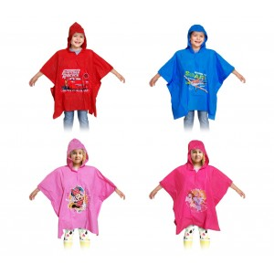 Impermeabile poncho per bambini graficamente decorato con personaggi disney colorati con cappuccio