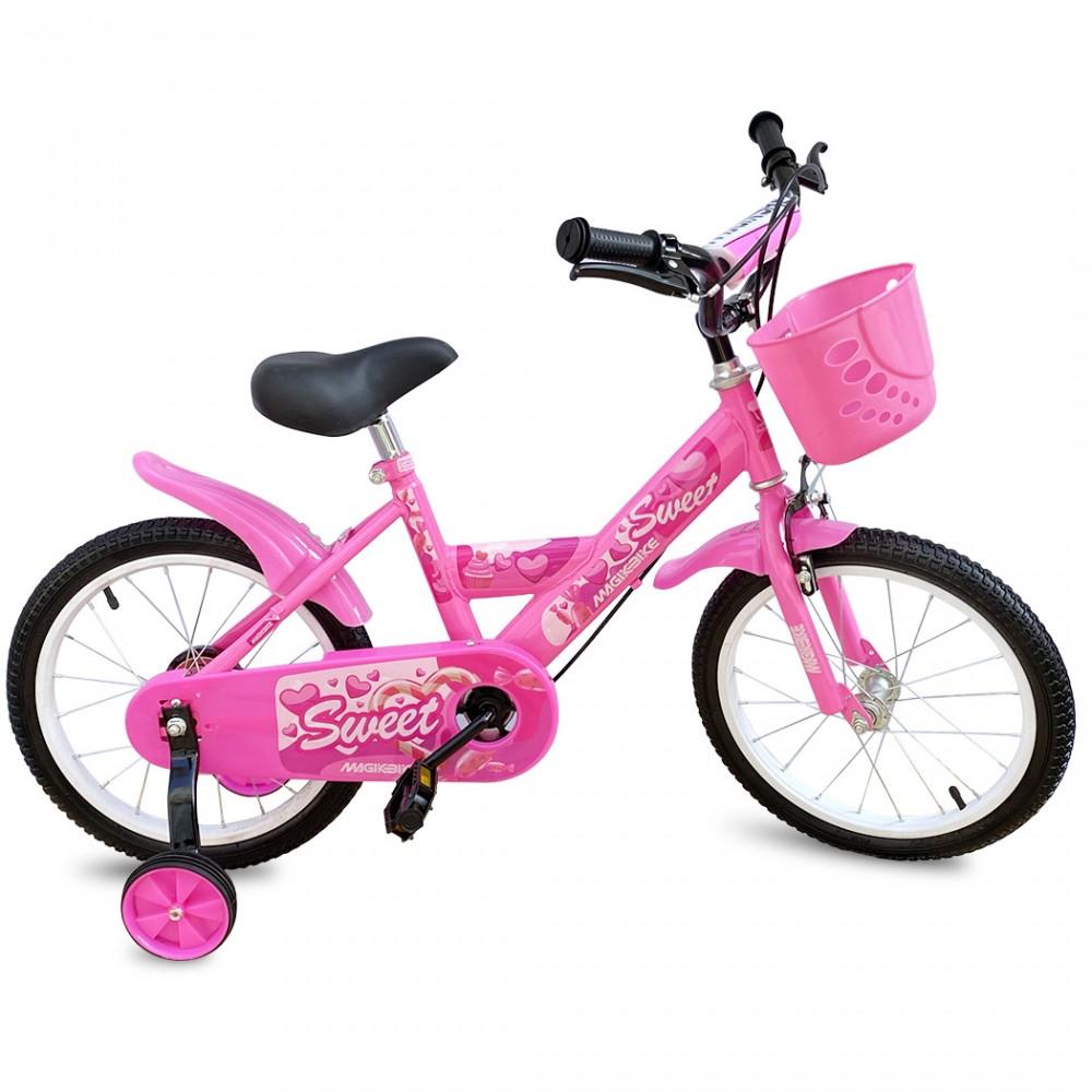 Bicicletta Magic per bambine B060 taglia 12 cestino rotelle età 3-5 anni ROSA