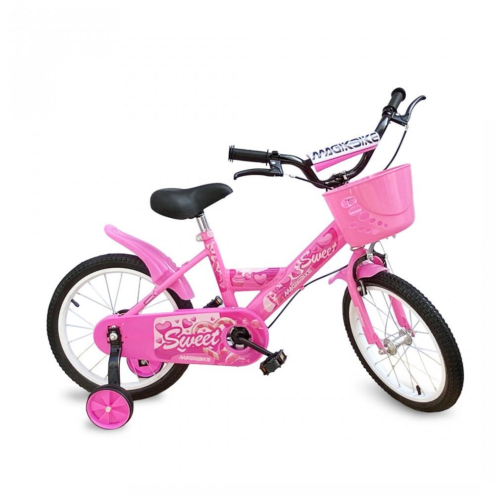 Bicicletta Magic per bambine B061 taglia 14 cestino rotelle età 4-6 anni ROSA