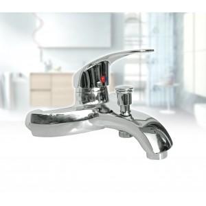 Miscelatore rubinetto per vasca universale in acciaio cromato monocomando con attacco doccino