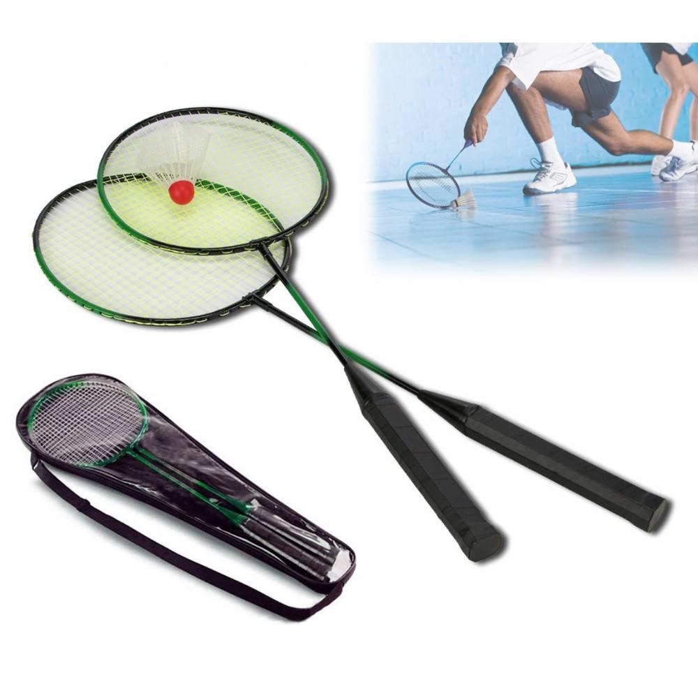 Coppia di racchette per badminton volano con custodia a bretella per il trasporto basic