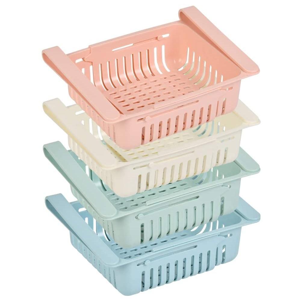 Set 4 pz Cassetti per Frigorifero 187325 Organizer Estensibile in Plastica frigo