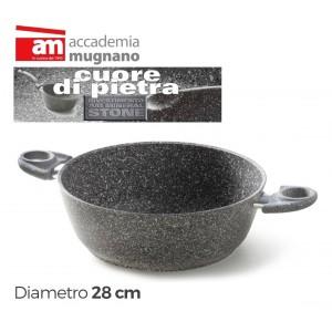 Image of Casseruola semifonda 28 cm con 2 maniglie 28 cm Accademia Mugnano Linea CUORE DI PIETRA Mineral Stone 8018301748240