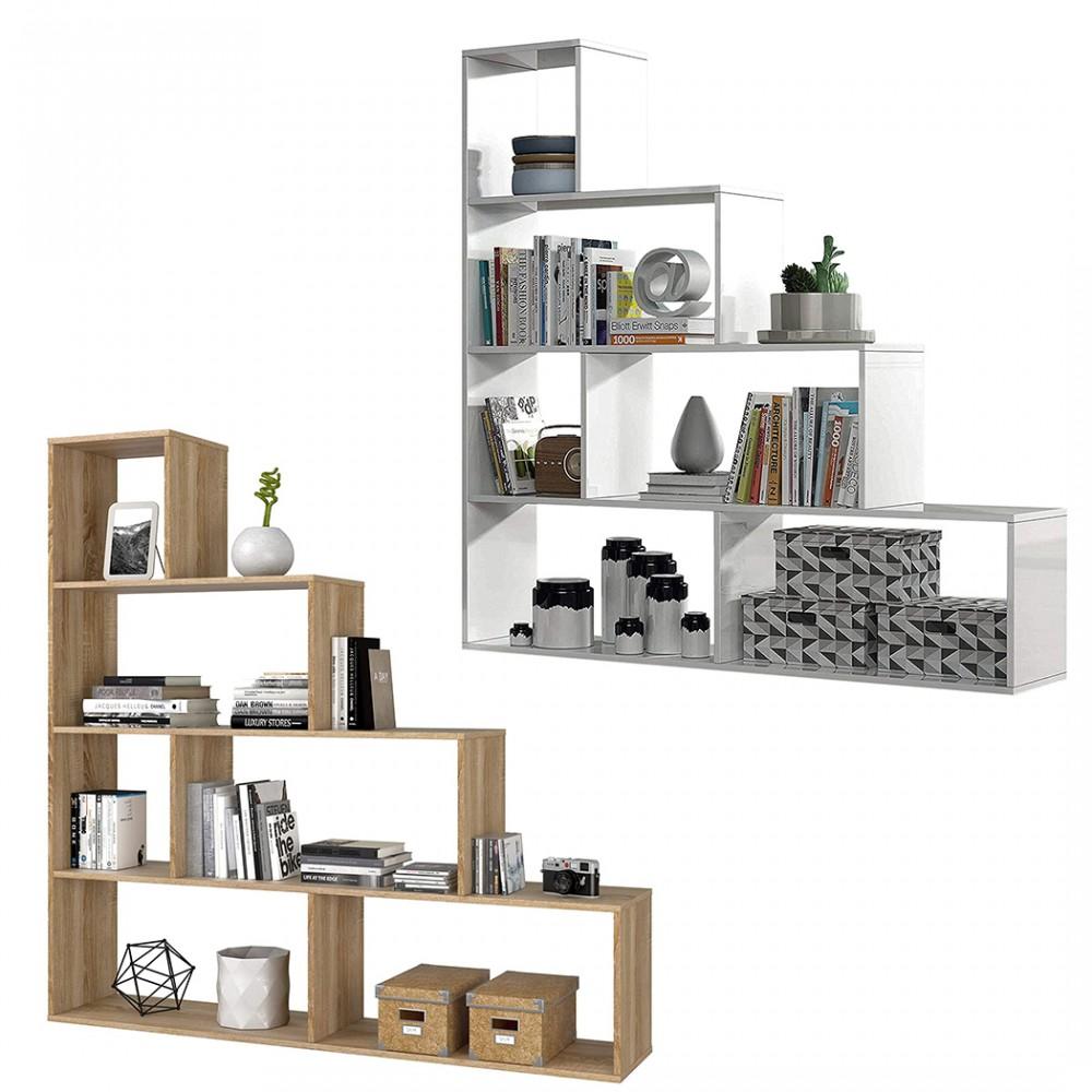 Libreria 262086 KLUM con 9 Ripiani in Melamina Scaffale Geometrico 145X29xH145cm
